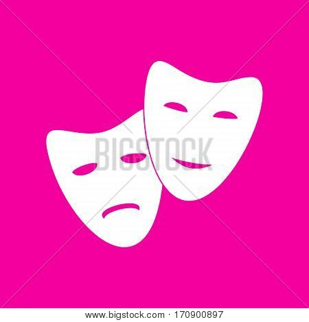 Theater icon with happy and sad masks. White icon at magenta background.