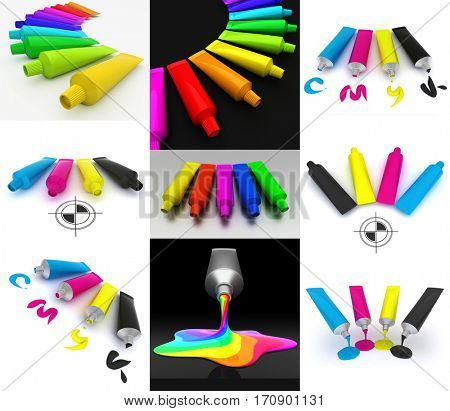 Set of 3D illustrations of tubes with paint in cmyk colors.