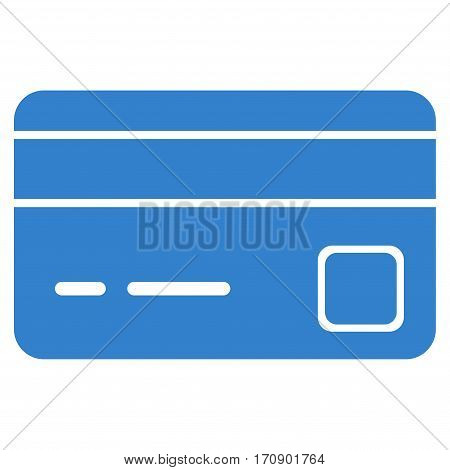 Bank Card vector pictograph. Illustration style is a flat iconic cobalt symbol on white background.