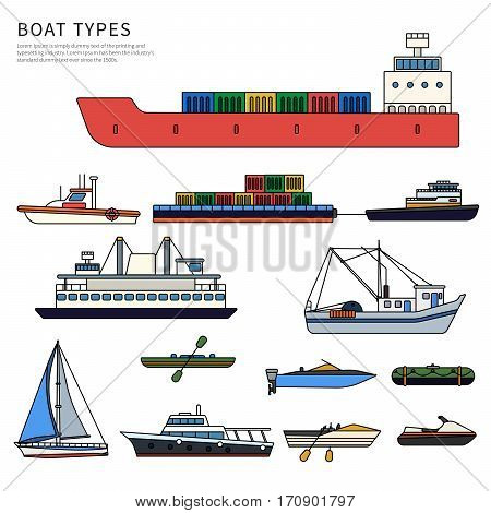 Boats and ships types. Military boat, powerboats, cargo boats, inflatable boat isolated on white background. Thin line flat design