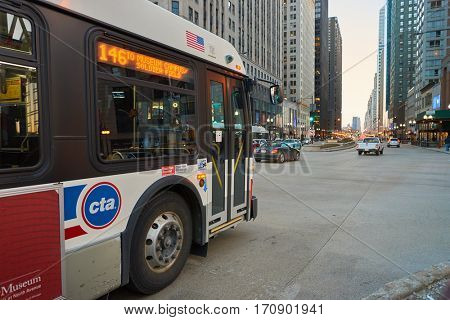 CHICAGO, IL - CIRCA MARCH, 2016: a bus in Chicago. Chicago is the third most populous city in the United States.