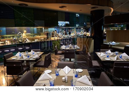 SINGAPORE - CIRCA NOVEMBER, 2015: restaurant at Singapore Airport Crowne Plaza. Crowne Plaza is a chain of full service, upscale hotels.