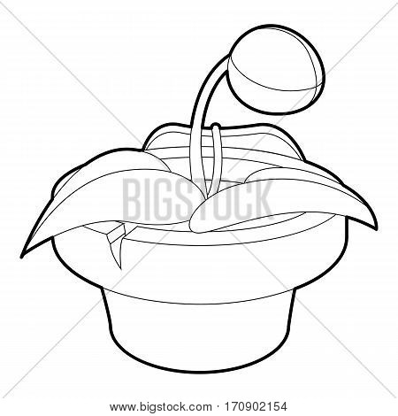 Plant in pot icon. Outline illustration of plant in pot vector icon for web
