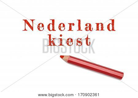 Nederland Kiest Text Sketch Red Pencil