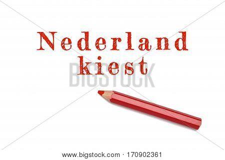 Nederland Kiest Text Sketch Red Pencil