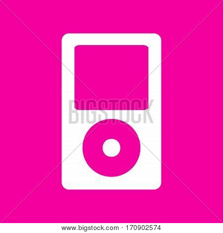 Portable music device. White icon at magenta background.