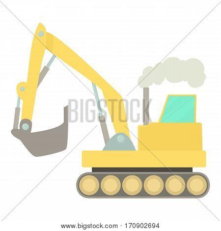 Excavator icon. Cartoon illustration of excavator vector icon for web