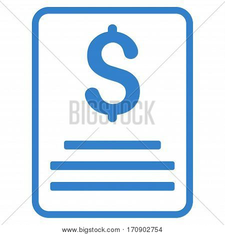 Invoice Budget vector icon. Illustration style is a flat iconic cobalt symbol on white background.