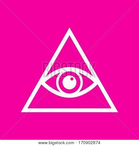 All seeing eye pyramid symbol. Freemason and spiritual. White icon at magenta background.