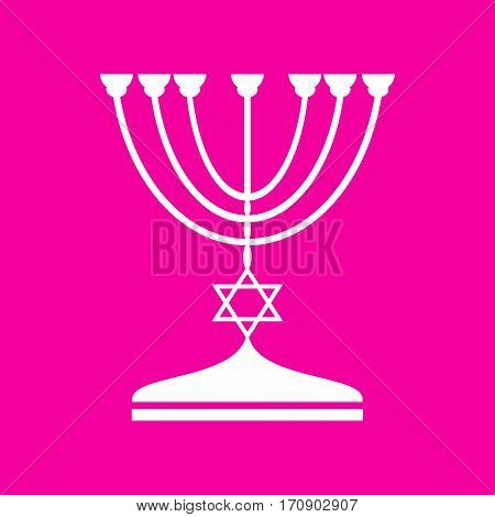 Jewish Menorah candlestick in black silhouette. White icon at magenta background.