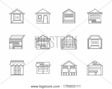 Symbols of samples of seller tents and awnings. Street trade market stall, canopy, outdoor cafe. Objects for summer festival. Set of black flat line design vector icons.
