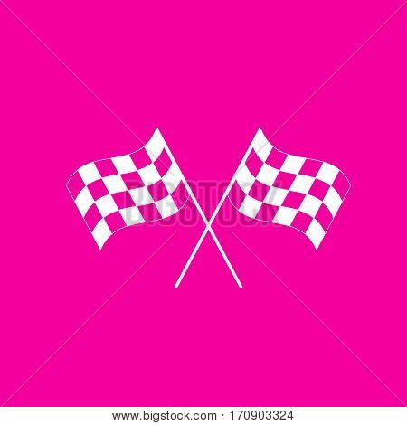 Crossed checkered flags logo waving in the wind conceptual of motor sport. White icon at magenta background.