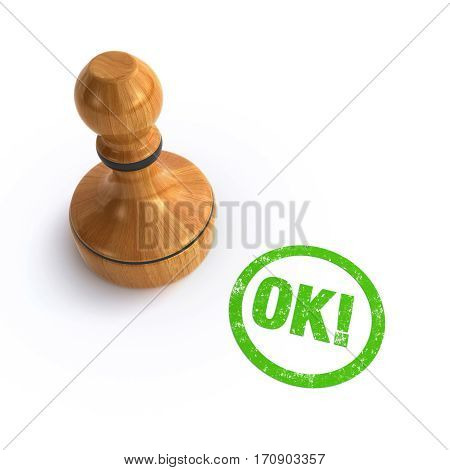 rubber stamp ok over the white background (3d rendering)