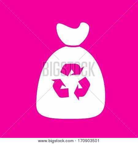 Trash bag icon. White icon at magenta background.