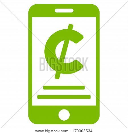 Cent Mobile Payment vector icon. Illustration style is a flat iconic eco green symbol on white background.