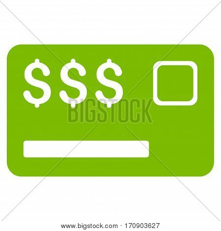 Credit Card vector icon. Illustration style is a flat iconic eco green symbol on white background.