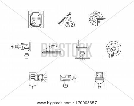 Symbols of metal processing. Metalworking equipment for industry and workshop. Sandblasting, welding, cutting of steel and iron products. Set of black flat line design vector icons.