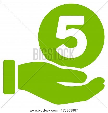 Five Cents Payment Hand vector pictograph. Illustration style is a flat iconic eco green symbol on white background.