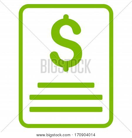 Invoice Budget vector pictograph. Illustration style is a flat iconic eco green symbol on white background.