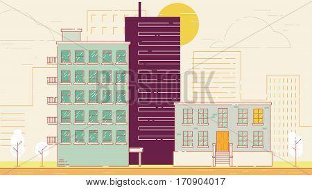 City Street stroke style vector illustration skyskrapers orange palette