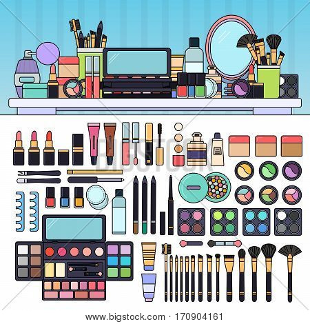 Cosmetics. Decorative cosmetics on the table in the table in the beauty store. Beauty and make up concept. Lipsticks, palette of eyeshadow, perfume, brushes isolated on white background