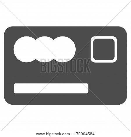 Banking Card vector pictogram. Illustration style is a flat iconic gray symbol on white background.