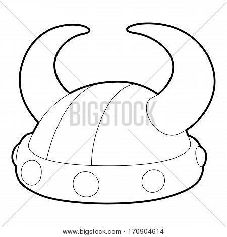Horned helmet icon. Outline illustration of horned helmet vector icon for web
