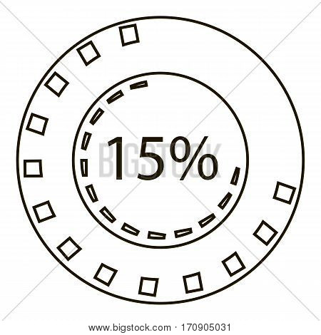 fifteen percents infographics. Outline illustration of fifteen percents vector infographics for web