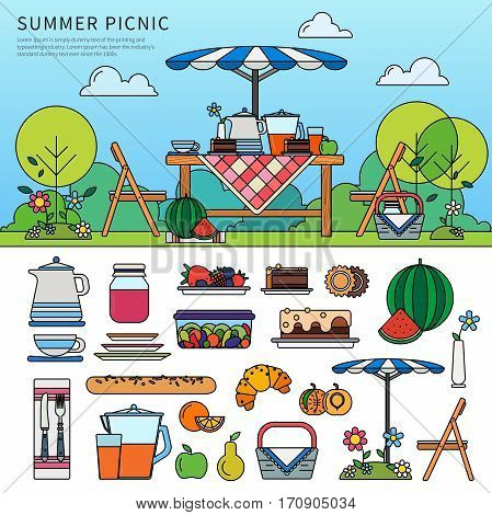 Thin line flat design of summer picnic in garden. Resting in a sunny day. Weekend concept. Icon set of picnic items. Umbrella, chairs, basket with food, fruits, cakes isolated on white background