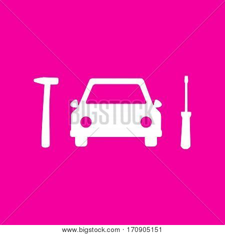 Car tire repair service sign. White icon at magenta background.