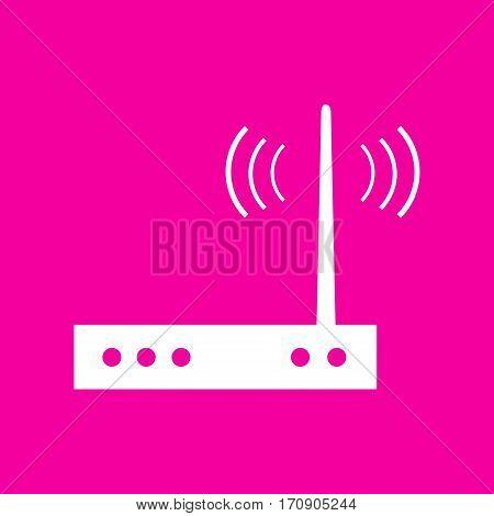 Wifi modem sign. White icon at magenta background.