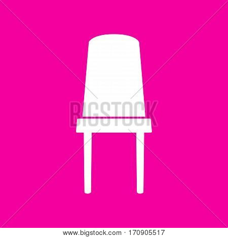 Office chair sign. White icon at magenta background.