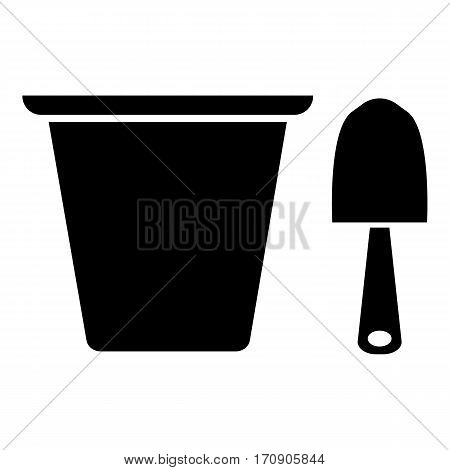 Pail and shovel icon. Simple illustration of pail and shovel vector icon for web