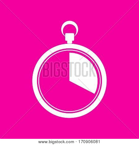 The 20 seconds, minutes stopwatch sign. White icon at magenta background.