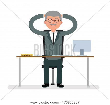 Boss sits at a Desk and dreaming. White background. Cartoon vector flat-style illustration.