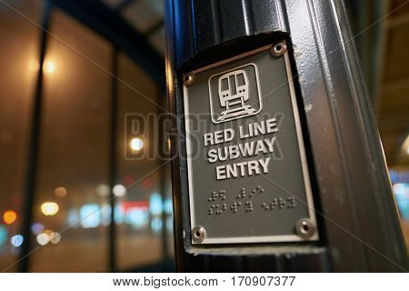 CHICAGO, IL - CIRCA APRIL, 2016: close up shot of CTA Red Line subway entry sign. Chicago Transit Authority is the operator of mass transit in Chicago and some of its surrounding suburbs