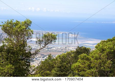 Aerial view from the road that leads to the town of Erice, Sicily, Italy