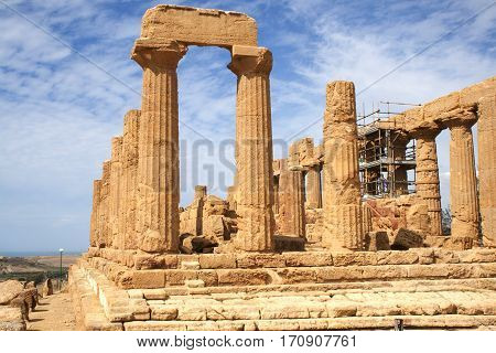 Ancient ruins Greek temple of Juno in the Valley of Temples, Agrigento, Sicily, Italy
