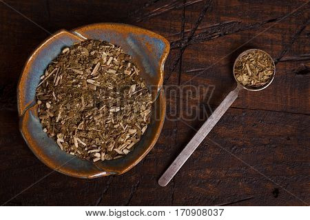 Mate On Plate  On Wooden Background