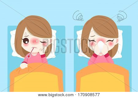 cute cartoon girl get fever and lying on bed