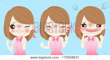 cute cartoon girl have toothache and feel uncomfortable