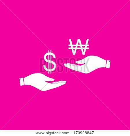 Currency exchange from hand to hand. Dollar and South Korea Won. White icon at magenta background.
