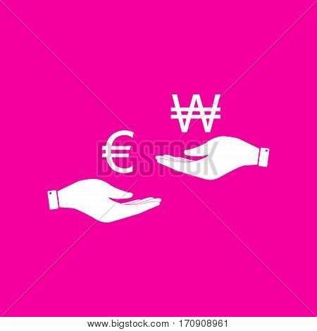 Currency exchange from hand to hand. Euro and Won. White icon at magenta background.