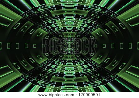 Abstract fractal design with lights or windows in a dark tunnel leading to the center