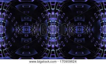 Abstract fractal design with purple gradient windows or rectangles in a wave, on dark background