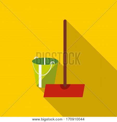 Mop and bucket icon. Flat illustration of mop and bucket vector icon for web