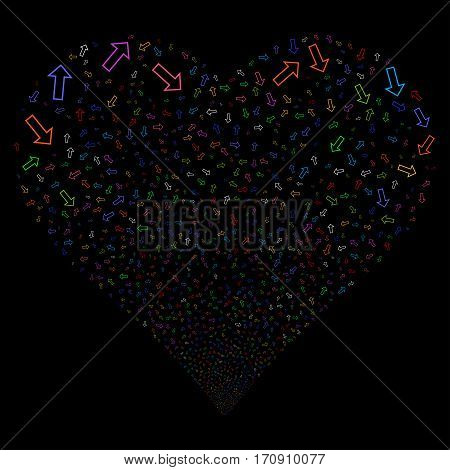 Arrow fireworks with heart shape. Vector illustration style is flat bright multicolored iconic symbols on a black background. Object heart organized from scattered icons.