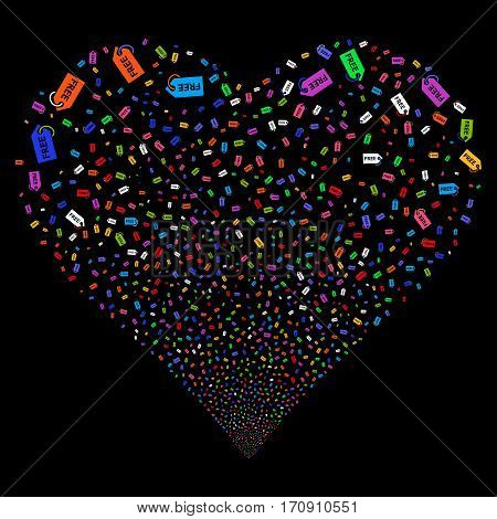 Free Tag fireworks with heart shape. Vector illustration style is flat bright multicolored iconic symbols on a black background. Object valentine heart organized from scattered pictograms.