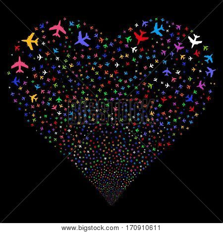 Jet Plane fireworks with heart shape. Vector illustration style is flat bright multicolored iconic symbols on a black background. Object salute constructed from scattered design elements.