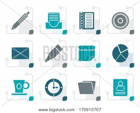 Stylized Office & Business Icons - Vector icon Set